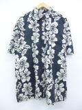 XL★古着 ハワイアン シャツ ハイビスカス 大きいサイズ 黒他 ブラック 19aug09 中古 メンズ 半袖 アロハ トップス