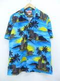 L★古着 ハワイアン シャツ 90年代 ヤシの木 建物 ハワイ製 青他 ブルー 19aug09 中古 メンズ 半袖 アロハ トップス