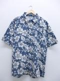 XL★古着 ハワイアン シャツ ジミーズ ハイビスカス 薄紺 ネイビー 19aug23 中古 メンズ 半袖 アロハ トップス