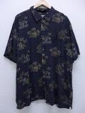 XL★古着 ハワイアン シャツ ヤシの木 ヨット レーヨン 大きいサイズ 濃グレー 19aug23 中古 メンズ 半袖 アロハ トップス