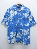 XL★古着 ハワイアン シャツ ガッチャ 花 大きいサイズ 薄紺 ネイビー 19aug23 中古 メンズ 半袖 アロハ トップス