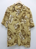 XL★古着 ハワイアン シャツ パナマジャック レーヨン ベージュ カーキ 19aug23 中古 メンズ 半袖 アロハ トップス