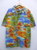 XL★古着 ハワイアン シャツ 90年代 ヤシの木 ハイビスカス 大きいサイズ USA製 オレンジ他 19aug23 中古 メンズ 半袖 アロハ トップス