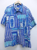 XL★古着 ハワイアン シャツ 90年代 大きいサイズ 水色 19aug23 中古 メンズ 半袖 アロハ トップス