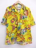 M★古着 ハワイアン シャツ 90年代 魚 仮面 黄 イエロー 19aug23 中古 メンズ 半袖 アロハ トップス