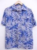M★古着 ハワイアン シャツ 葉 シルク 青 ブルー 19aug23 中古 メンズ 半袖 アロハ トップス