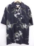 XL★古着 ハワイアン シャツ 花 シルク 黒 ブラック 19aug23 中古 メンズ 半袖 アロハ トップス