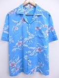 L★古着 ハワイアン シャツ 80年代 花 葉 水色 19aug28 中古 メンズ 半袖 アロハ トップス