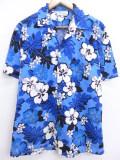 L★古着 ハワイアン シャツ 90年代 ハイビスカス ハワイ製 青 ブルー 19aug28 中古 メンズ 半袖 アロハ トップス