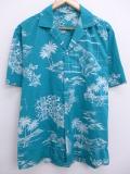 L★古着 ハワイアン シャツ 80年代 ハワイ ヤシの木 ハイビスカス 青緑 19aug28 中古 メンズ 半袖 アロハ トップス