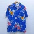 XL★古着 半袖 ハワイアン シャツ 80年代 80s ハイビスカス コットン 開襟 オープンカラー USA製 青 ブルー 20apr08 中古 メンズ アロハ トップス