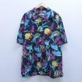 XL★古着 半袖 ハワイアン シャツ 90年代 90s 魚 コットン 大きいサイズ 開襟 オープンカラー USA製 黒 ブラック 20apr08 中古 メンズ アロハ トップス
