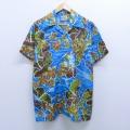 XL★古着 半袖 ハワイアン シャツ 80年代 80s ハイビスカス ヤシの木 開襟 オープンカラー 青 ブルー 20apr08 中古 メンズ アロハ トップス