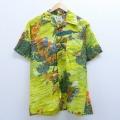 XL★古着 半袖 ハワイアン シャツ 80年代 80s 魚 花 ヤシの木 開襟 オープンカラー 黄系 イエロー 20apr08 中古 メンズ アロハ トップス