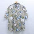 XL★古着 半袖 ハワイアン シャツ ピューリタン ヤシの木 コットン 大きいサイズ ボタンダウン グレー系 20apr08 中古 メンズ アロハ トップス