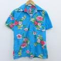 S★古着 ハワイアン シャツ 80年代 80s ハイビスカス コットン ハワイ製 水色 20apr17 中古 メンズ 半袖 アロハ トップス