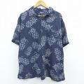 XL★古着 ハワイアン シャツ 90年代 90s ランズエンド パイナップル 大きいサイズ シルク リネン 紺 ネイビー 20may20 中古 メンズ 半袖 アロハ トップス