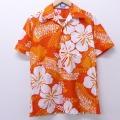 S★古着 半袖 ハワイアン シャツ 80年代 80s 花 ハワイ製 オレンジ他 20jun05 中古 メンズ アロハ トップス