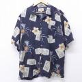L★古着 半袖 ハワイアン シャツ ハイビスカス パイナップル 大きいサイズ シルク 黒他 ブラック 20jun05 中古 メンズ アロハ トップス
