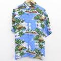 XL★古着 ピューリタン 半袖 ハワイアン シャツ メンズ ヤシの木 大きいサイズ レーヨン 青 ブルー 21jun11 中古 アロハ トップス