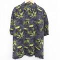 XL★古着 ピューリタン 半袖 ハワイアン シャツ メンズ ヤシの木 大きいサイズ レーヨン 黒 ブラック 21jun16 中古 アロハ トップス