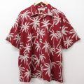 XL★古着 半袖 ハワイアン シャツ メンズ ヤシの木 シルク 開襟 オープンカラー エンジ 21jul20 中古 アロハ トップス