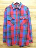 L★古着 長袖 ヘビー フランネル シャツ 90年代 内側キルティング USA製 赤他 レッド チェック 18mar06 中古 メンズ トップス