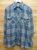 L★古着 長袖 シャツ 90年代 青系 ブルー チェック 18mar16 中古 メンズ トップス