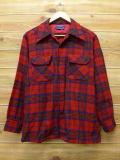 M★古着 長袖 ウール シャツ 70年代 ペンドルトン PENDLETON USA製 赤 レッド チェック 18mar27 中古 メンズ トップス