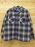 XL★古着 長袖 ウール シャツ ペンドルトン PENDLETON USA製 紺他 ネイビー チェック 18sep14 中古 メンズ トップス