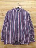 XL★古着 長袖 フランネル シャツ 90年代 紫 パープル ストライプ 18sep24 中古 メンズ トップス