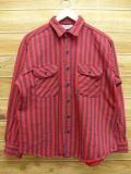 XL★古着 長袖 ヘビー フランネル シャツ 80年代 ファイブブラザー USA製 赤 レッド ストライプ 【spe】 18sep25 中古 メンズ トップス