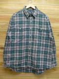 L★古着 長袖 ヘビー フランネル シャツ 90年代 ギャップ GAP 緑 グリーン チェック 18sep25 中古 メンズ トップス