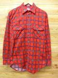 M★古着 長袖 フランネル シャツ 80年代 USA製 赤 レッド チェック 18oct08 中古 メンズ トップス