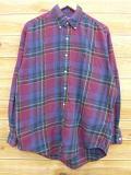 XL★古着 フランネル シャツ 90年代 ラルフローレン Ralph Lauren ロゴ 紫 パープル チェック 18oct15 中古 メンズ トップス