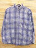 M★古着 長袖 フランネル シャツ 90年代 コットン 青 ブルー シャドーチェック 18oct15 中古 メンズ トップス