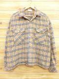 XL★古着 長袖 ウール シャツ 80年代 ベージュ カーキ チェック 18oct15 中古 メンズ トップス