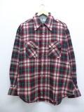 XL★古着 長袖 ウール シャツ 90年代 大きいサイズ 赤 レッド タータン チェック 19jan23 中古 メンズ トップス