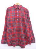L★古着 長袖 フランネル シャツ 80年代 エルエルビーン LLBEAN USA製 赤 レッド タータン チェック 19jan25 中古 メンズ トップス