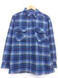 L★古着 長袖 ウール シャツ 80年代 ペンドルトン PENDLETON ウール USA製 青他 ブルー オーバー チェック 19jan25 中古 メンズ トップス