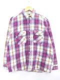 L★古着 長袖 ヘビー フランネル シャツ 90年代 ファイブブラザー USA製 紫 パープル ブロック チェック 19feb26 中古 メンズ トップス