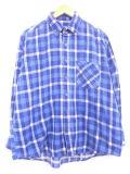 XL★古着 長袖 フランネル シャツ 90年代 青 ブルー ブロック チェック 19feb26 中古 メンズ トップス