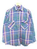 L★古着 長袖 フランネル シャツ 90年代 ファイブブラザー 緑 グリーン チェック 19feb26 中古 メンズ トップス