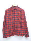 L★古着 長袖 ウール シャツ 70年代 スコットランド製 赤 レッド タータン チェック 【spe】 19mar13 中古 メンズ トップス