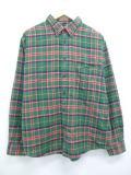 XL★古着 長袖 フランネル シャツ ランズエンド 大きいサイズ 緑 グリーン チェック 19mar13 中古 メンズ トップス
