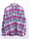 XL★古着 長袖 ヘビー フランネル シャツ シカ 大きいサイズ ピンク チェック 19apr16 中古 メンズ トップス