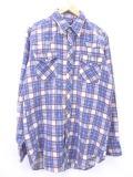 XL★古着 長袖 フランネル シャツ 80年代 Dee Cee ウエスタン USA製 青 ブルー チェック 19apr16 中古 メンズ トップス