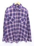 XL★古着 長袖 フランネル シャツ 80年代 紺 ネイビー チェック 19apr16 中古 メンズ トップス
