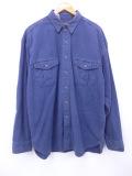 XL★古着 長袖 ブランド フランネル シャツ 90年代 エディーバウアー コットン 大きいサイズ 紺 ネイビー 19sep17 中古 メンズ トップス