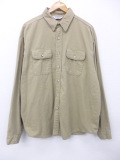 XL★古着 長袖 ブランド フランネル シャツ 80年代 ファイブブラザー コットン 大きいサイズ USA製 ベージュ カーキ 19sep17 中古 メンズ トップス